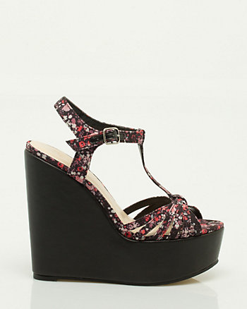 Floral Canvas T-Strap Wedge
