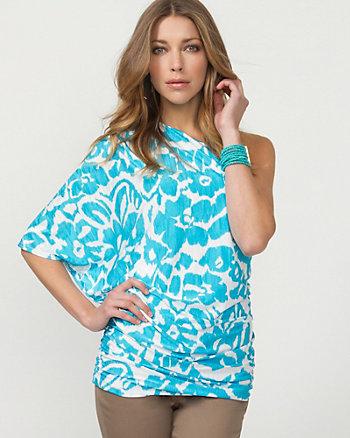 Floral Print Knit One Shoulder Blouse