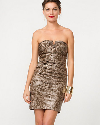 Snakeskin Pleated Sweetheart Dress