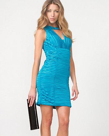 Shiny Knit Pleated Cocktail Dress