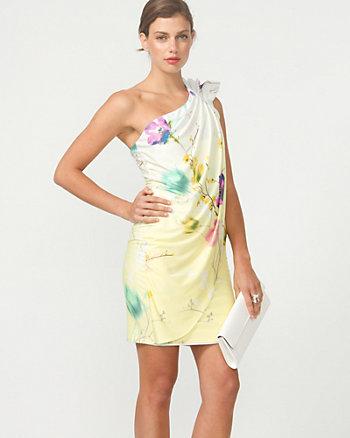 Floral Print One Shoulder Cocktail Dress