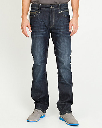 Mid Wash Straight Leg Jeans