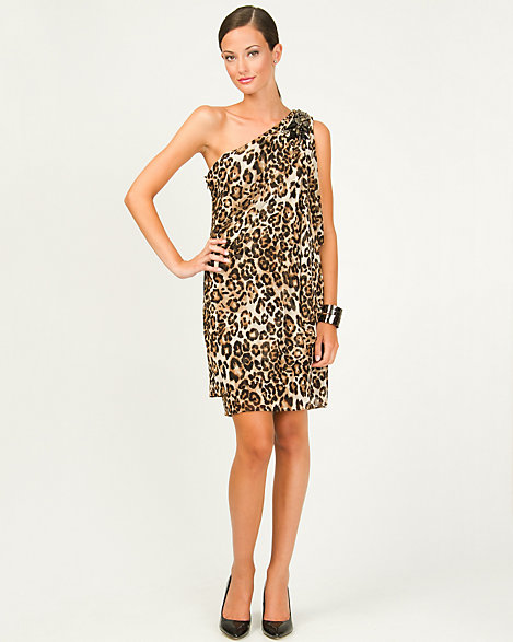 Mesh Leopard Print One Shoulder Dress  e68176e70