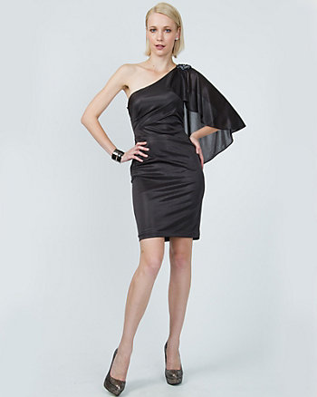 Foil One Shoulder Cocktail Dress