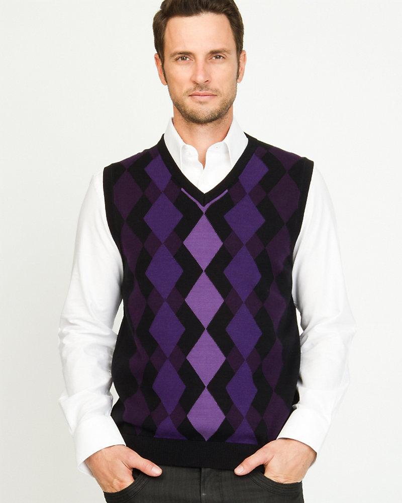 LE CHÂTEAU: Cotton Argyle Sweater Vest
