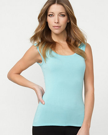 Viscose Blend Scoop Neck Shell