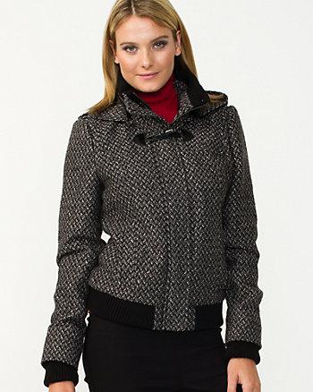 Tweed Hooded Bomber Jacket