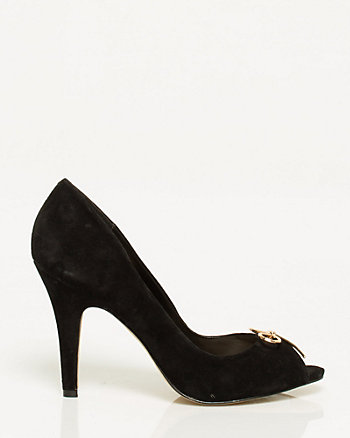 Suede Bow Peep Toe Pump