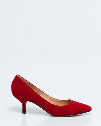 Suede Pointy Toe Kitten Heel