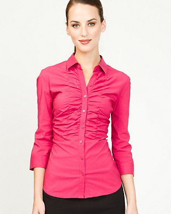 Poplin Ruched Button-front Blouse