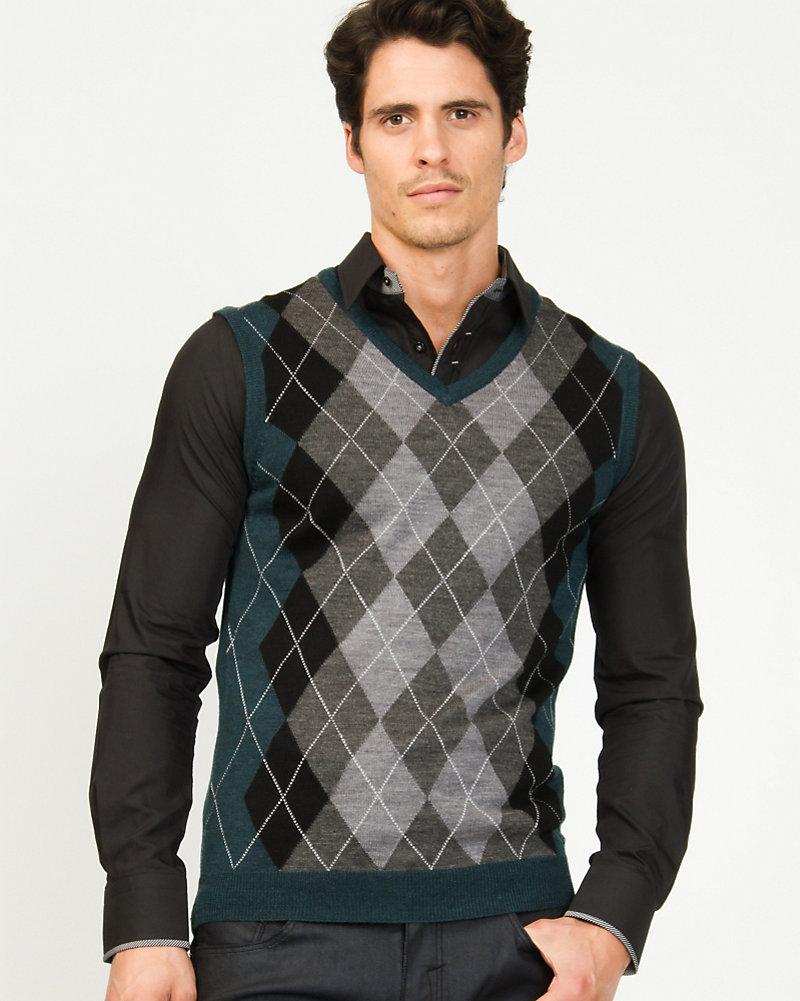LE CHÂTEAU: Wool Blend Argyle Semi-fitted Sweater Vest