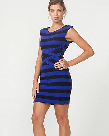 Stretch Ottoman Stripe Mini Dress