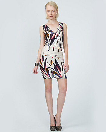 Viscose Feather Print Wrap Dress