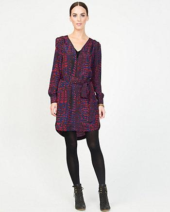 Crêpe de Chine Abstract Print Dress