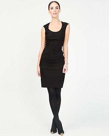 Bengaline Pleated Shift Dress