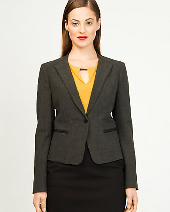 Woven Collarless Classic Fit Blazer