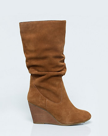 Suede Ruched Wedge Mid Calf Boot
