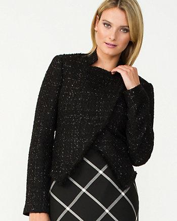 Bouclé Asymmetrical Collar Blazer