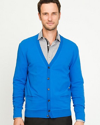 Cotton Blend Semi-fitted Cardigan