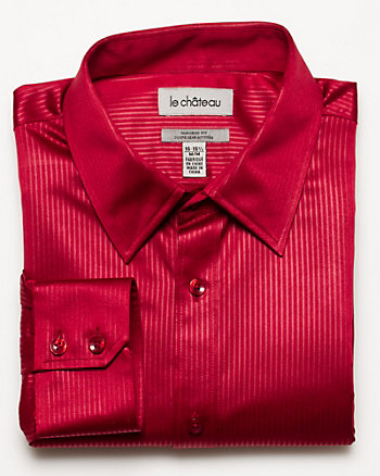 Satin Stripe Tailored Fit Dress Shirt
