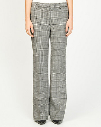 Wool Blend Check Flare Leg Pant