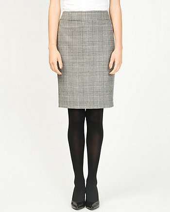 Wool Blend Glen Check Pencil Skirt