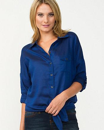 Cotton Front-Tie Twill Shirt