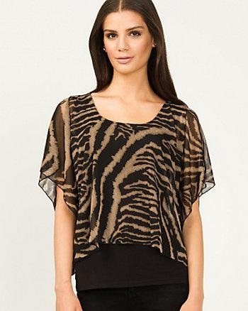 Sheer Zebra Print Kimono Sleeve Top