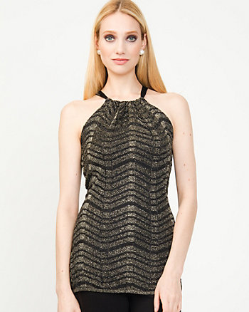 Metallic Zigzag Halter Sweater