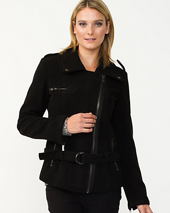 Wool Blend Notch Collar Belted Jacket