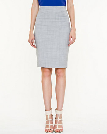 Stretch Wool Blend High Waist Pencil Skirt