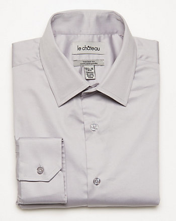 Cotton Blend Sateen Tailored Shirt