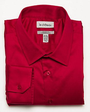 Cotton Blend Sateen Tailored Shirt