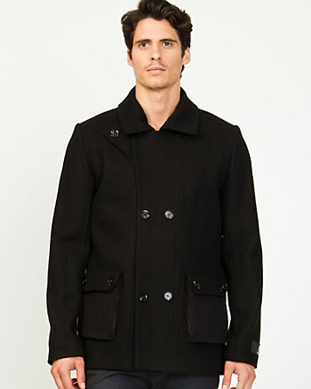 Melton Wool Double Breasted Peacoat