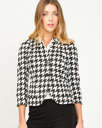 Houndstooth Inverted Collar Blazer