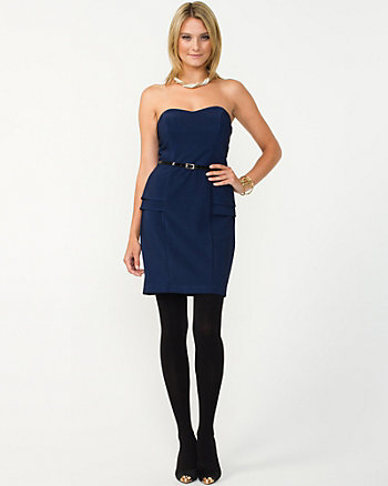 Ottoman Ribbed Peplum Dress