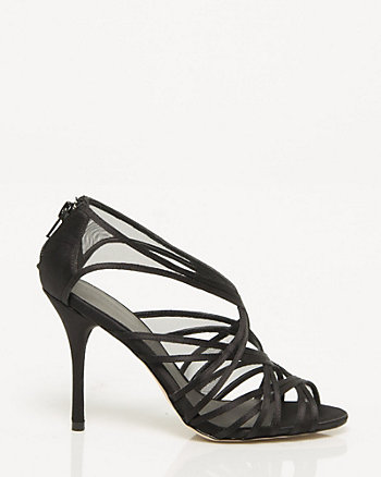 Satin and Mesh Strappy Sandal