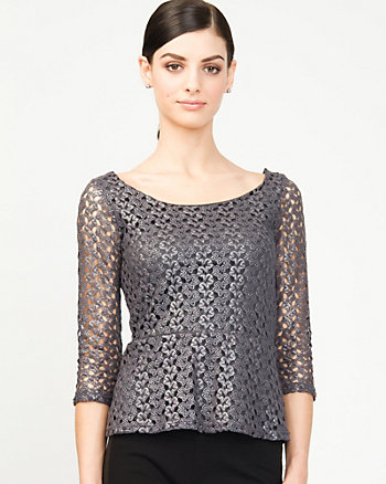 Foil Peplum Top