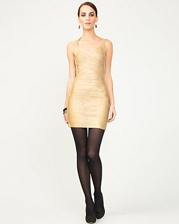 Banded Foil Knit Dress