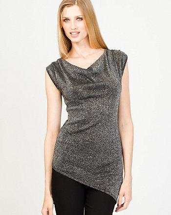 Asymmetrical Metallic Knit Tunic