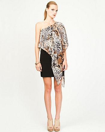 Chiffon Animal Print One Shoulder Dress