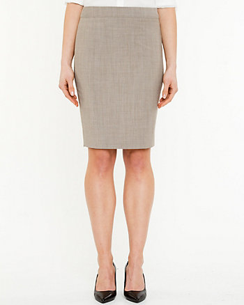 Stretch Wool Blend Pencil Skirt