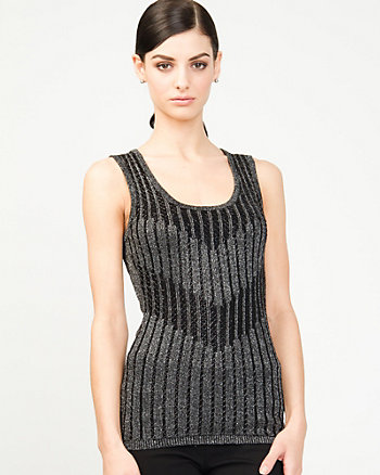 Beaded Metallic Knit Shell
