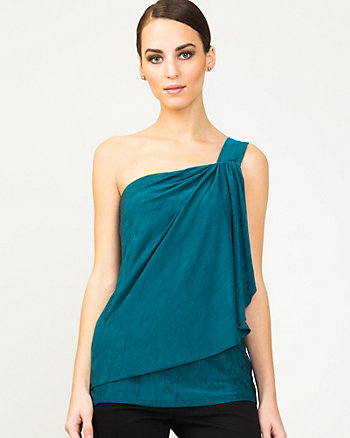 Draped Asymmetrical Knit Top