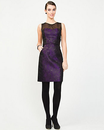 Mesh and Jacquard Cocktail Dress
