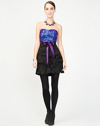 Taffeta Floral Print Party Dress
