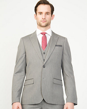Herringbone Notch Collar Blazer