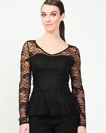 Lace & Knit Peplum Top