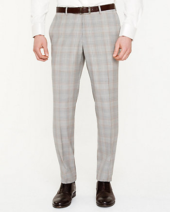 Wool Check Print Slim Leg Pant