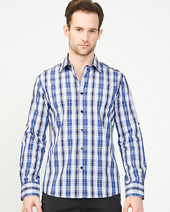 Cotton Check Print Slim Fit Shirt